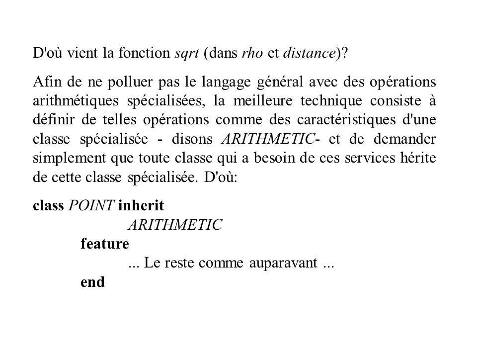 D'où vient la fonction sqrt (dans rho et distance)? Afin de ne polluer pas le langage général avec des opérations arithmétiques spécialisées, la meill