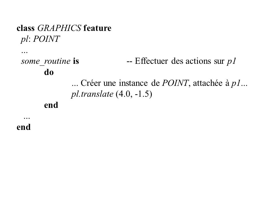 class GRAPHICS feature pl: POINT... some_routine is-- Effectuer des actions sur p1 do... Créer une instance de POINT, attachée à p1... pl.translate (4