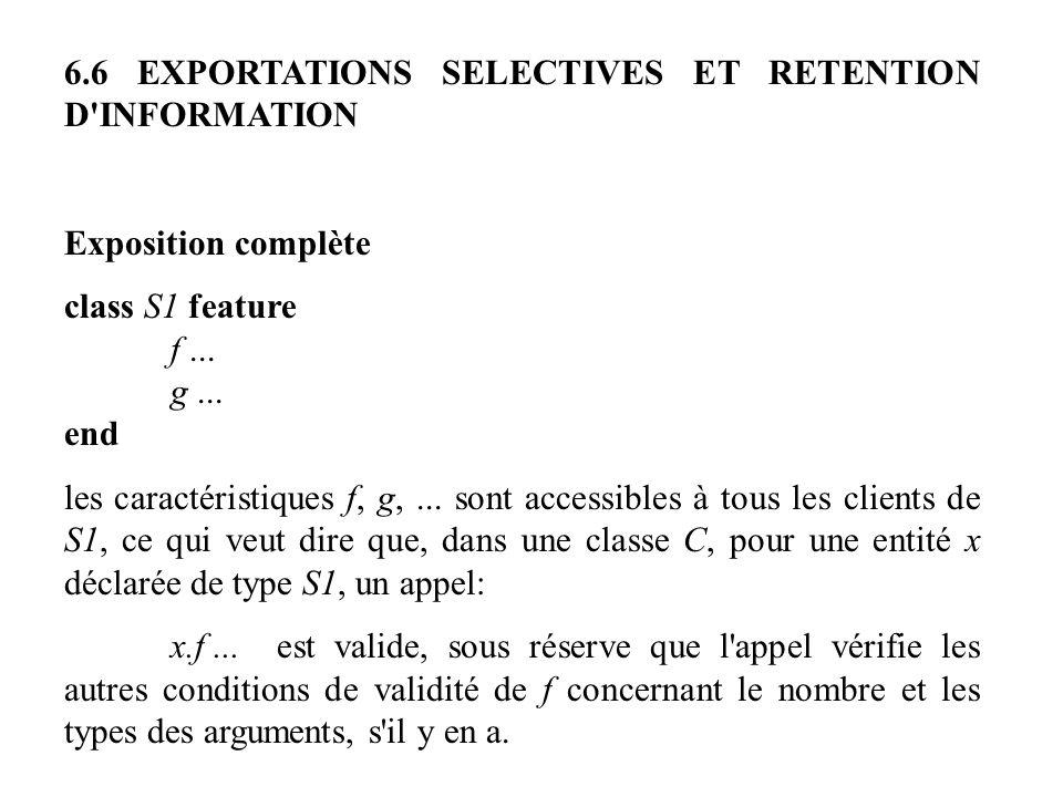 6.6 EXPORTATIONS SELECTIVES ET RETENTION D'INFORMATION Exposition complète class S1 feature f... g... end les caractéristiques f, g,... sont accessibl