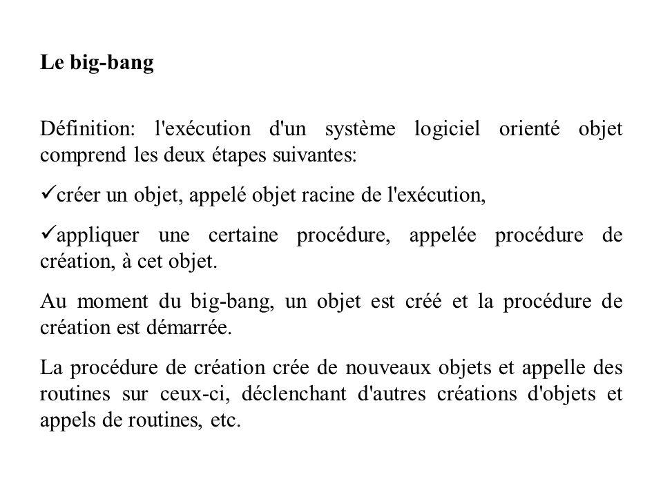 Le big-bang Définition: l'exécution d'un système logiciel orienté objet comprend les deux étapes suivantes: créer un objet, appelé objet racine de l'e