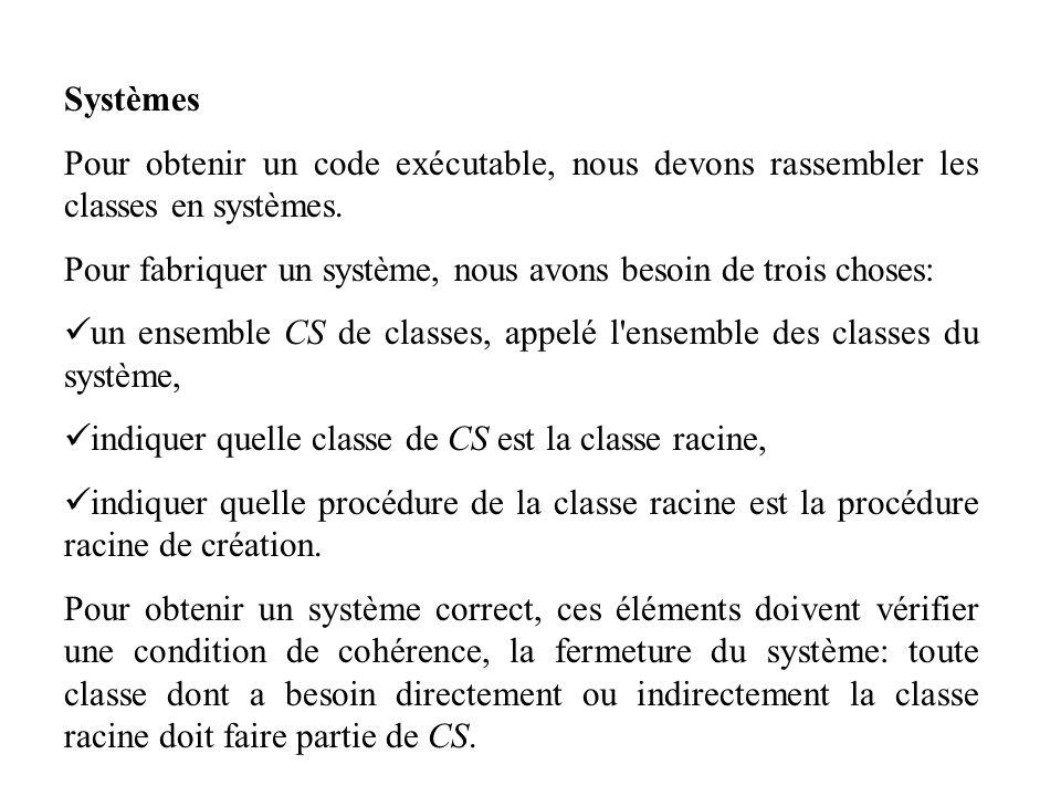Systèmes Pour obtenir un code exécutable, nous devons rassembler les classes en systèmes. Pour fabriquer un système, nous avons besoin de trois choses