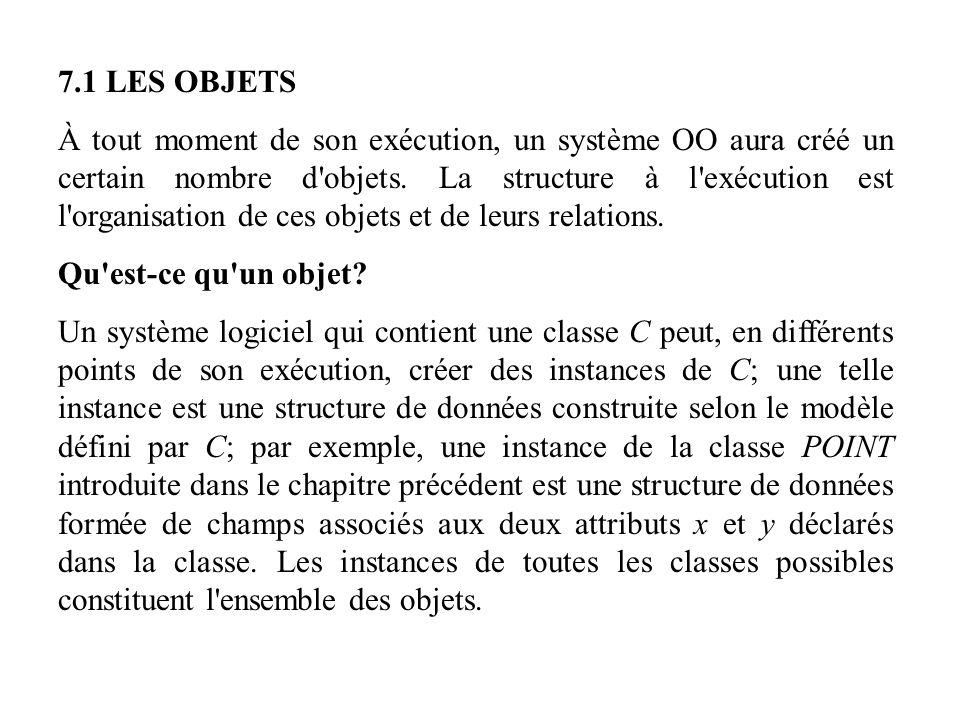 7.1 LES OBJETS À tout moment de son exécution, un système OO aura créé un certain nombre d'objets. La structure à l'exécution est l'organisation de ce