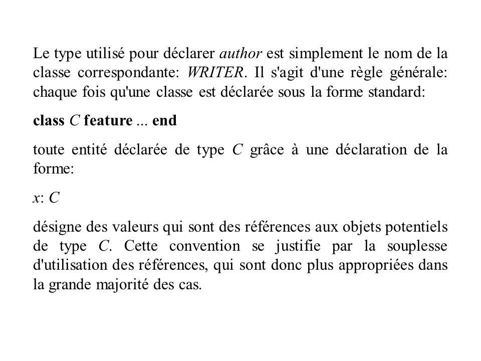 Le type utilisé pour déclarer author est simplement le nom de la classe correspondante: WRITER. Il s'agit d'une règle générale: chaque fois qu'une cla