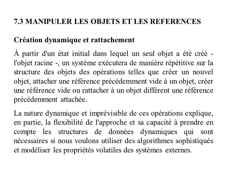 7.3 MANIPULER LES OBJETS ET LES REFERENCES Création dynamique et rattachement À partir d'un état initial dans lequel un seul objet a été créé - l'obje
