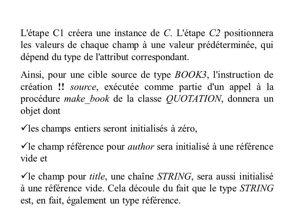 L'étape C1 créera une instance de C. L'étape C2 positionnera les valeurs de chaque champ à une valeur prédéterminée, qui dépend du type de l'attribut