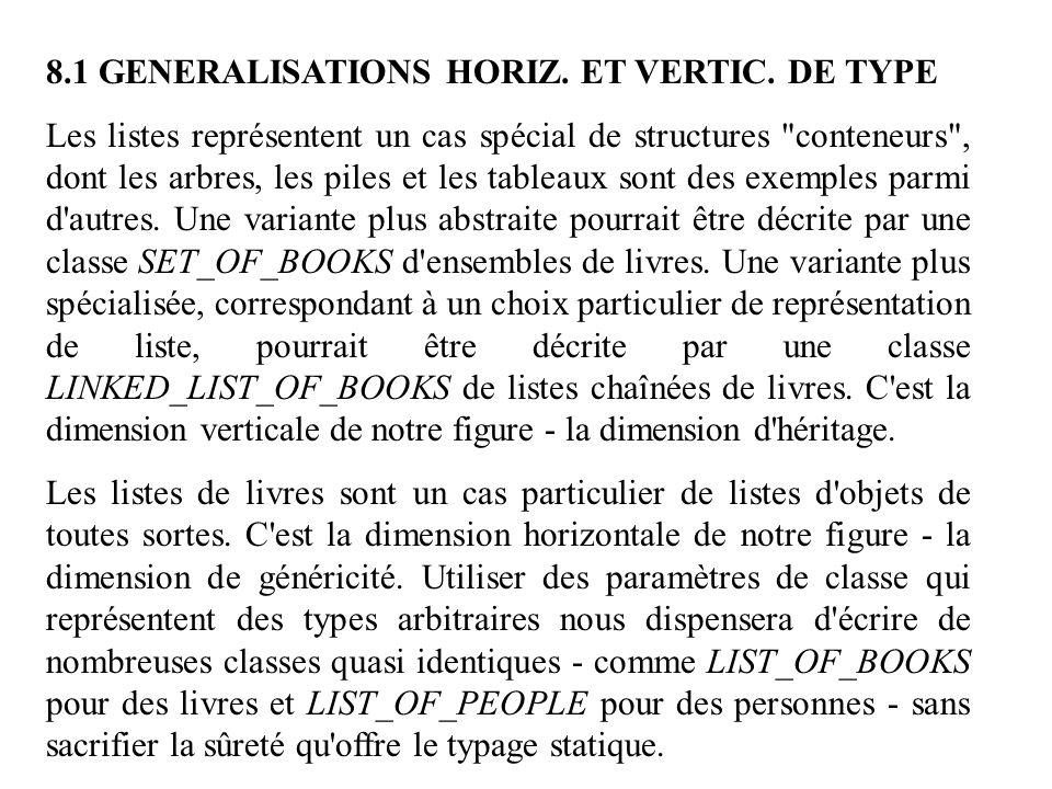 8.1 GENERALISATIONS HORIZ. ET VERTIC. DE TYPE Les listes représentent un cas spécial de structures
