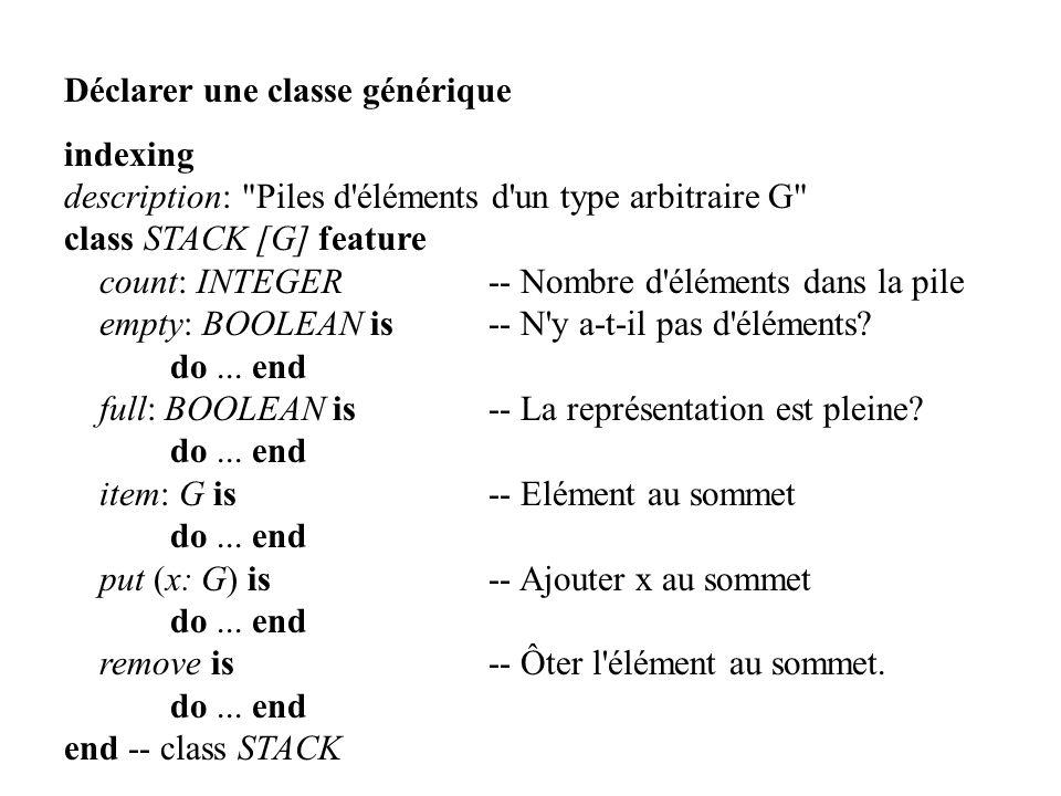 Déclarer une classe générique indexing description: