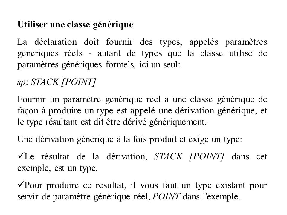 8.4 TABLEAUX indexing description: Séquence de valeurs, toutes de même type ou de type conforme, accessible par des indices entiers dans un intervalle contigu class ARRAY [G] creation make feature make (minindex, maxindex: INTEGER) is -- Allouer un tableau de bornes minindex et maxindex -- (vide si minindex > maxindex) do...