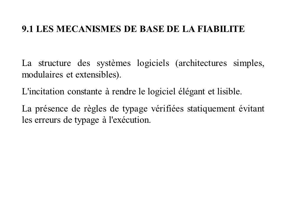9.1 LES MECANISMES DE BASE DE LA FIABILITE La structure des systèmes logiciels (architectures simples, modulaires et extensibles). L'incitation consta