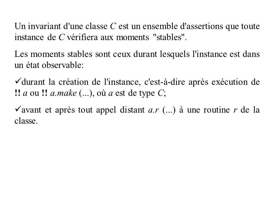 Un invariant d'une classe C est un ensemble d'assertions que toute instance de C vérifiera aux moments