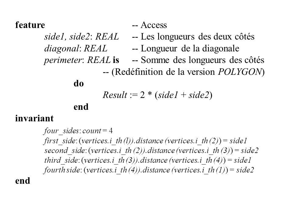 feature -- Access side1, side2: REAL-- Les longueurs des deux côtés diagonal: REAL-- Longueur de la diagonale perimeter: REAL is-- Somme des longueurs
