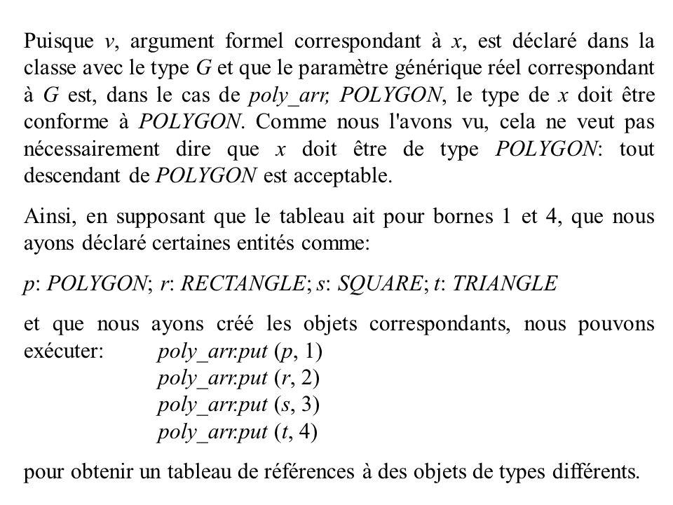 Puisque v, argument formel correspondant à x, est déclaré dans la classe avec le type G et que le paramètre générique réel correspondant à G est, dans