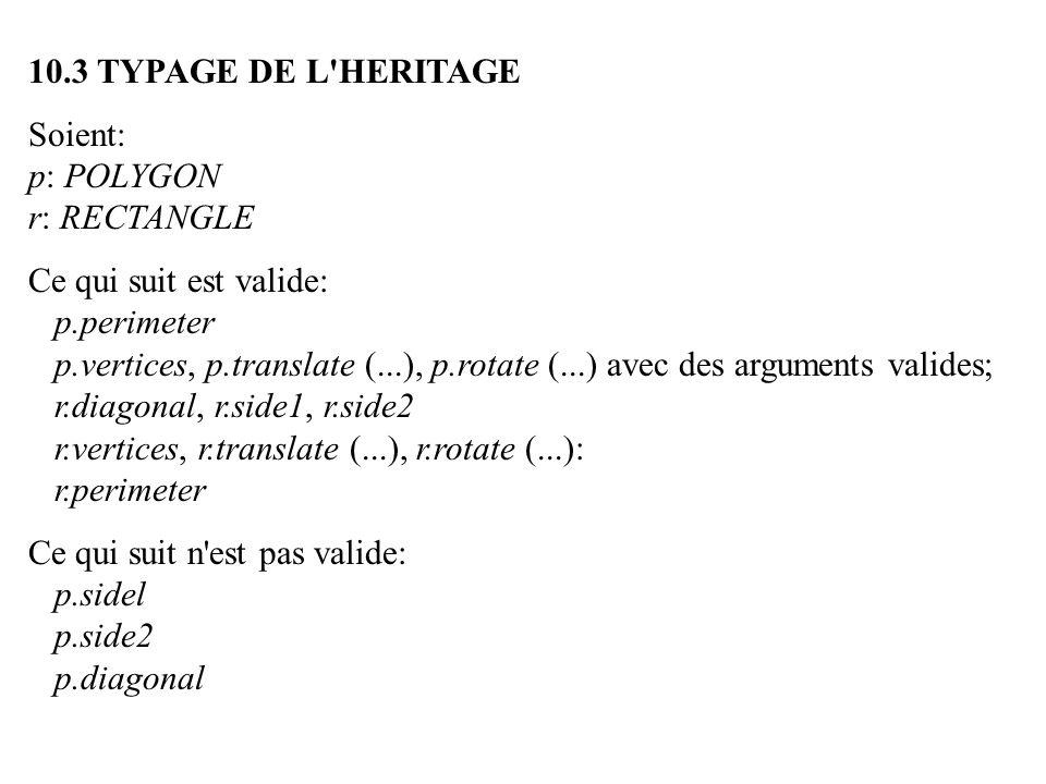 10.3 TYPAGE DE L'HERITAGE Soient: p: POLYGON r: RECTANGLE Ce qui suit est valide: p.perimeter p.vertices, p.translate (...), p.rotate (...) avec des a