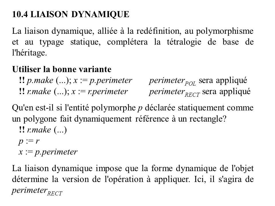 10.4 LIAISON DYNAMIQUE La liaison dynamique, alliée à la redéfinition, au polymorphisme et au typage statique, complétera la tétralogie de base de l'h