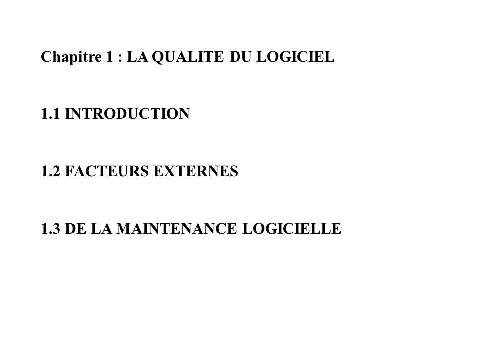 Chapitre 1 : LA QUALITE DU LOGICIEL 1.1 INTRODUCTION 1.2 FACTEURS EXTERNES 1.3 DE LA MAINTENANCE LOGICIELLE