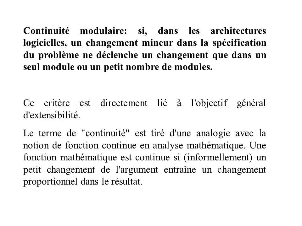 Continuité modulaire: si, dans les architectures logicielles, un changement mineur dans la spécification du problème ne déclenche un changement que da