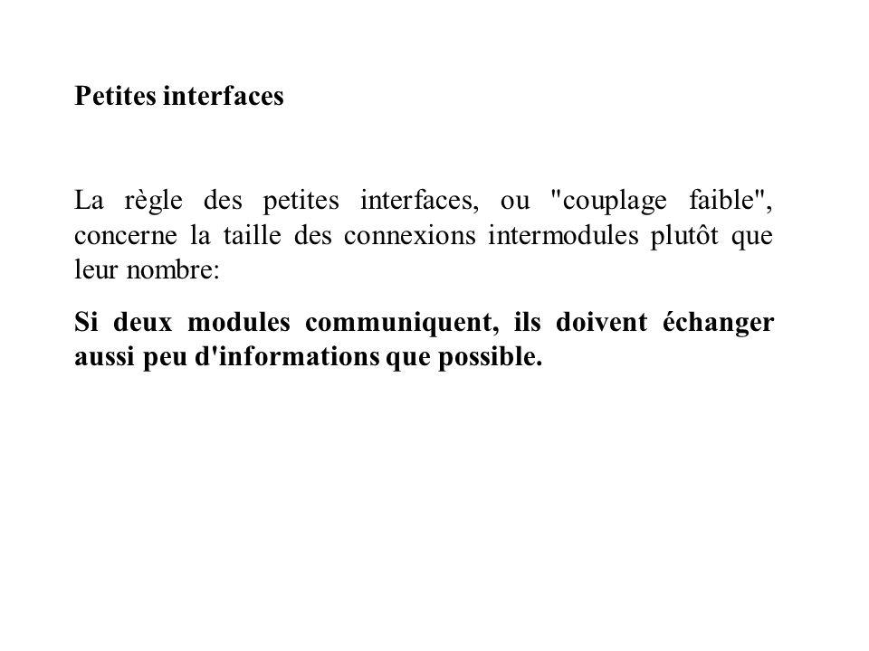 Petites interfaces La règle des petites interfaces, ou