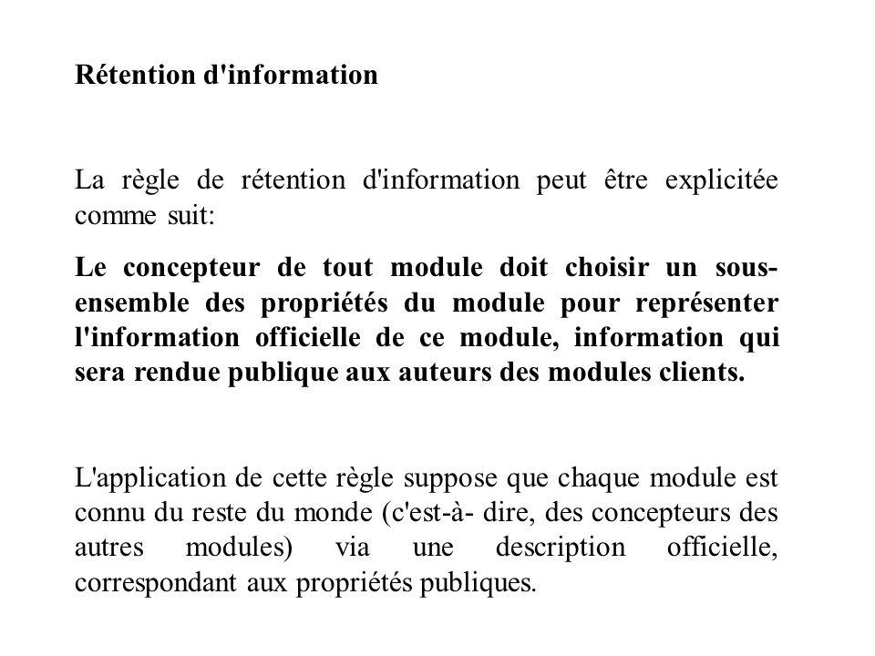 Rétention d'information La règle de rétention d'information peut être explicitée comme suit: Le concepteur de tout module doit choisir un sous- ensemb