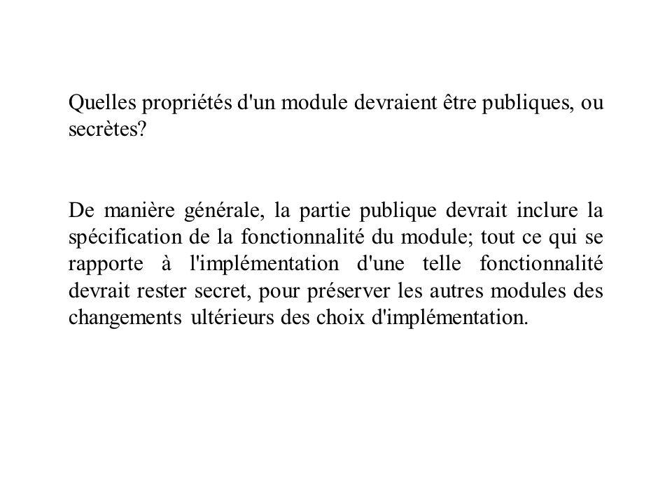 Quelles propriétés d'un module devraient être publiques, ou secrètes? De manière générale, la partie publique devrait inclure la spécification de la f
