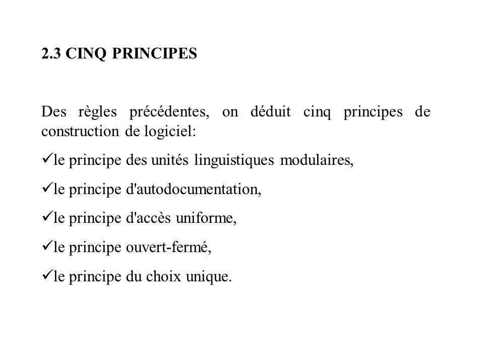 2.3 CINQ PRINCIPES Des règles précédentes, on déduit cinq principes de construction de logiciel: le principe des unités linguistiques modulaires, le p