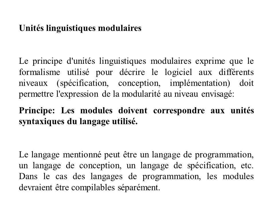 Unités linguistiques modulaires Le principe d'unités linguistiques modulaires exprime que le formalisme utilisé pour décrire le logiciel aux différent