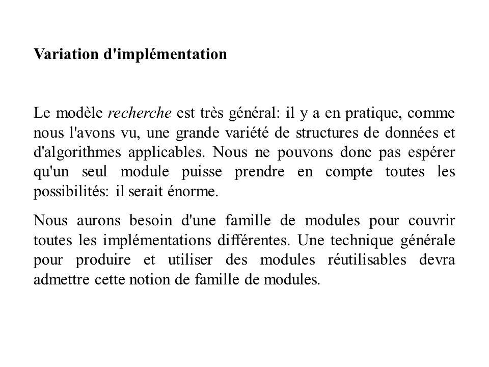 Variation d'implémentation Le modèle recherche est très général: il y a en pratique, comme nous l'avons vu, une grande variété de structures de donnée