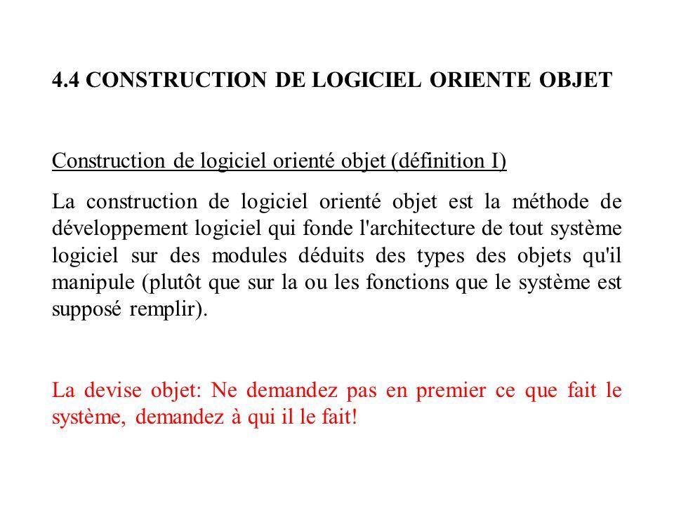 4.4 CONSTRUCTION DE LOGICIEL ORIENTE OBJET Construction de logiciel orienté objet (définition I) La construction de logiciel orienté objet est la méth
