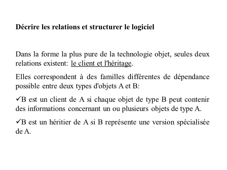 Chapitre 5 : TYPES ABSTRAITS DE DONNEES 5.1 CRITERES 5.2 VARIATIONS D IMPLEMENTATION 5.3 VERS UNE VUE ABSTRAITE DES OBJETS 5.4 FORMALISER LA SPECIFICATION 5.5 DES TYPES ABSTRAITS DE DONNEES AUX CLASSES