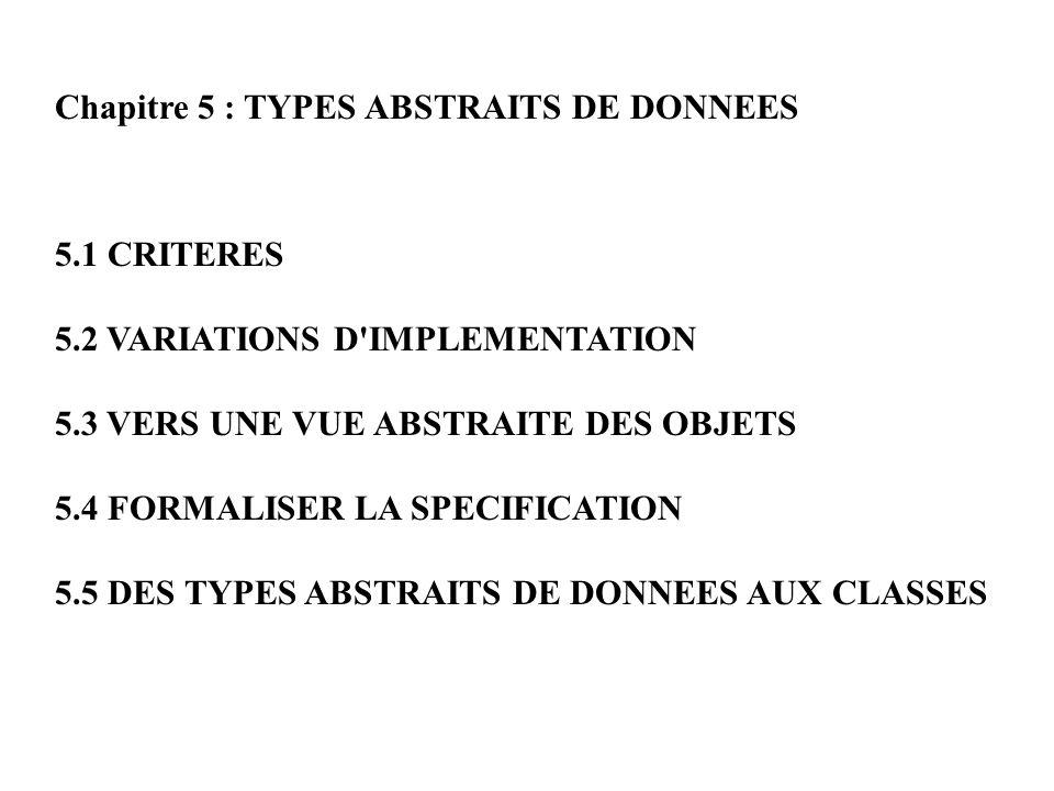 Chapitre 5 : TYPES ABSTRAITS DE DONNEES 5.1 CRITERES 5.2 VARIATIONS D'IMPLEMENTATION 5.3 VERS UNE VUE ABSTRAITE DES OBJETS 5.4 FORMALISER LA SPECIFICA