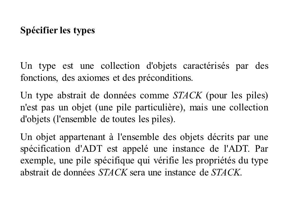 Spécifier les types Un type est une collection d'objets caractérisés par des fonctions, des axiomes et des préconditions. Un type abstrait de données