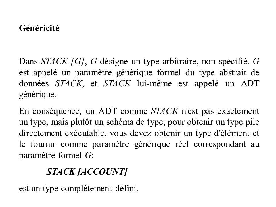 Généricité Dans STACK [G], G désigne un type arbitraire, non spécifié. G est appelé un paramètre générique formel du type abstrait de données STACK, e