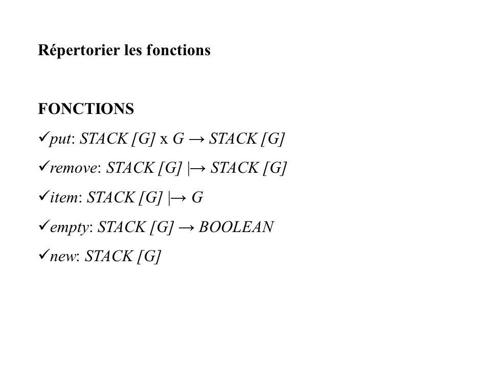 Répertorier les fonctions FONCTIONS put: STACK [G] x G STACK [G] remove: STACK [G]   STACK [G] item: STACK [G]   G empty: STACK [G] BOOLEAN new: STACK