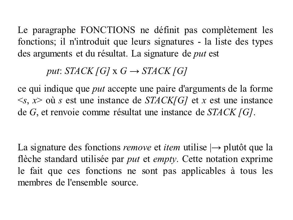 Le paragraphe FONCTIONS ne définit pas complètement les fonctions; il n'introduit que leurs signatures - la liste des types des arguments et du résult