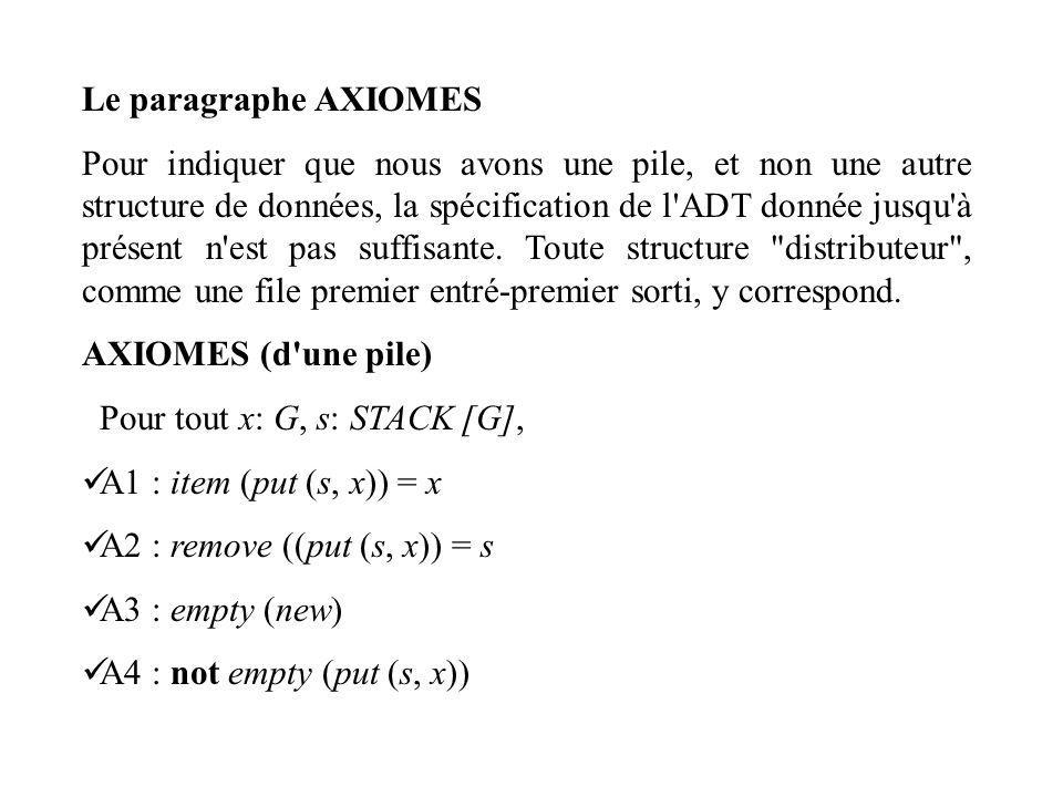 Le paragraphe AXIOMES Pour indiquer que nous avons une pile, et non une autre structure de données, la spécification de l'ADT donnée jusqu'à présent n