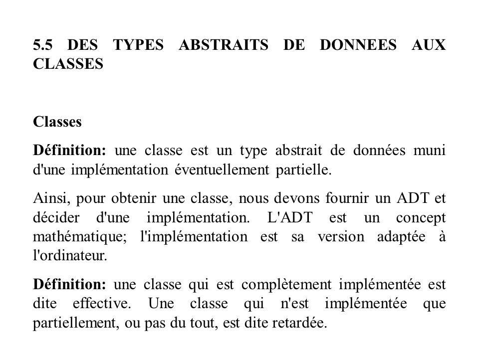 5.5 DES TYPES ABSTRAITS DE DONNEES AUX CLASSES Classes Définition: une classe est un type abstrait de données muni d'une implémentation éventuellement