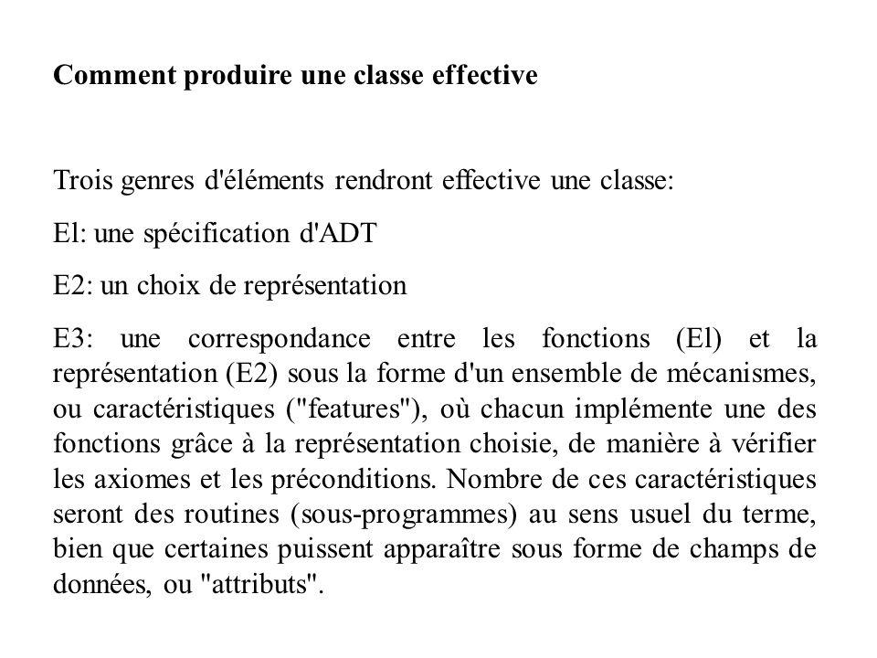 Comment produire une classe effective Trois genres d'éléments rendront effective une classe: El: une spécification d'ADT E2: un choix de représentatio