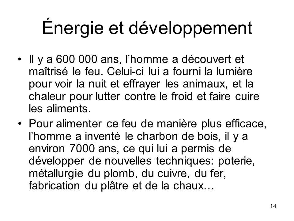 14 Énergie et développement Il y a 600 000 ans, lhomme a découvert et maîtrisé le feu. Celui-ci lui a fourni la lumière pour voir la nuit et effrayer