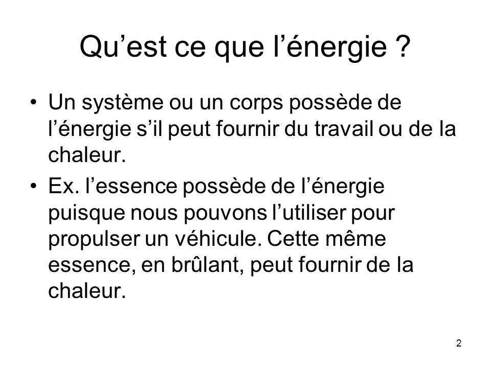 2 Quest ce que lénergie ? Un système ou un corps possède de lénergie sil peut fournir du travail ou de la chaleur. Ex. lessence possède de lénergie pu