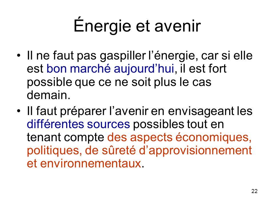 22 Énergie et avenir Il ne faut pas gaspiller lénergie, car si elle est bon marché aujourdhui, il est fort possible que ce ne soit plus le cas demain.
