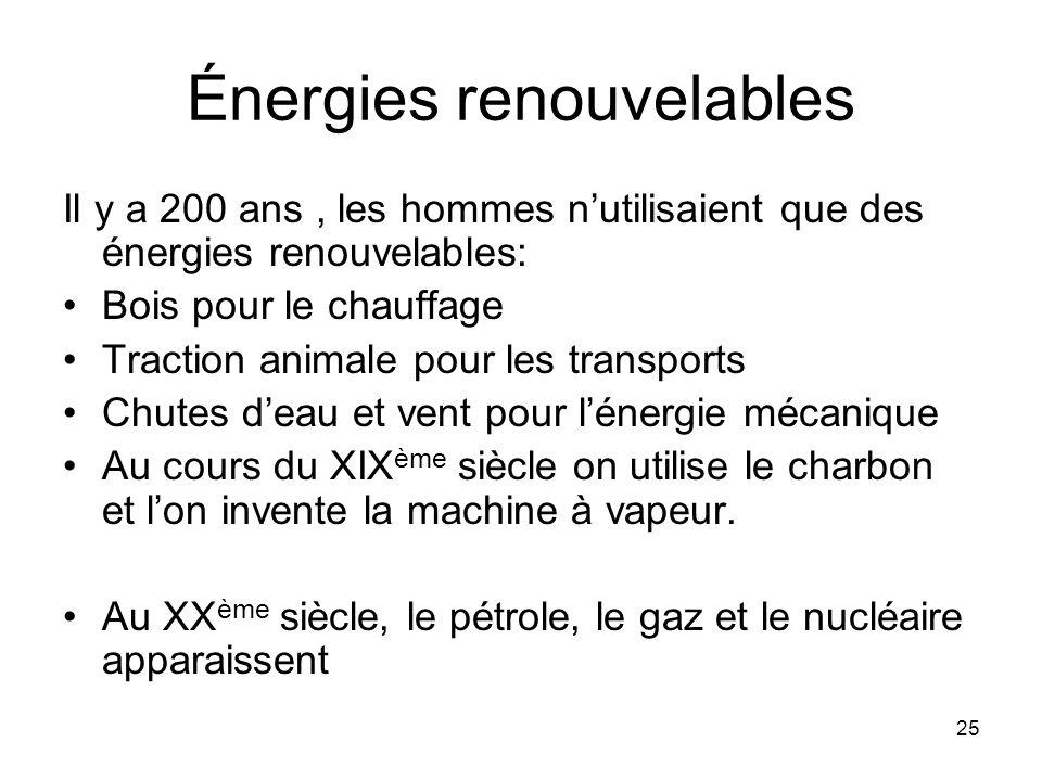 25 Énergies renouvelables Il y a 200 ans, les hommes nutilisaient que des énergies renouvelables: Bois pour le chauffage Traction animale pour les tra