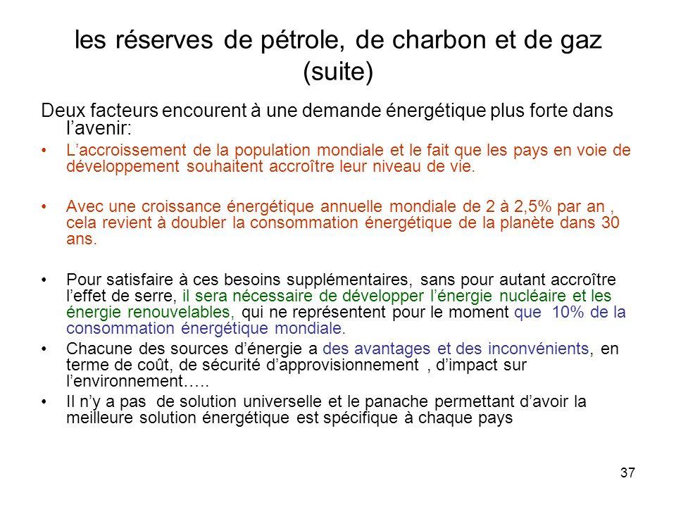 37 les réserves de pétrole, de charbon et de gaz (suite) Deux facteurs encourent à une demande énergétique plus forte dans lavenir: Laccroissement de