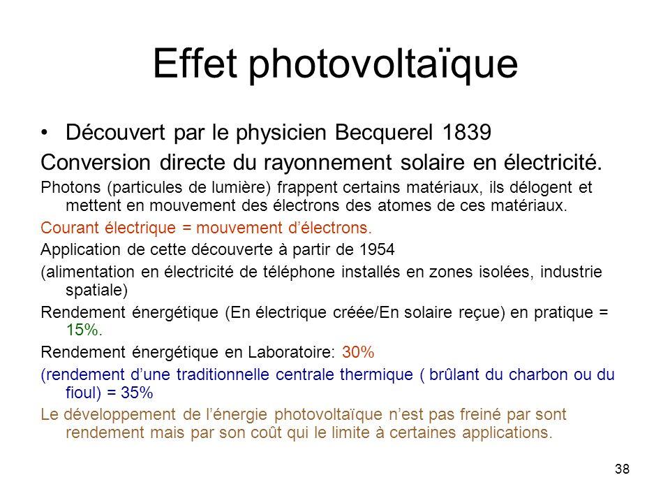 38 Effet photovoltaïque Découvert par le physicien Becquerel 1839 Conversion directe du rayonnement solaire en électricité. Photons (particules de lum