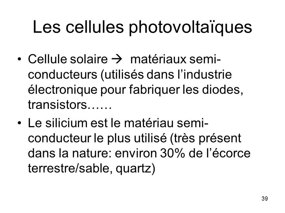 39 Les cellules photovoltaïques Cellule solaire matériaux semi- conducteurs (utilisés dans lindustrie électronique pour fabriquer les diodes, transist