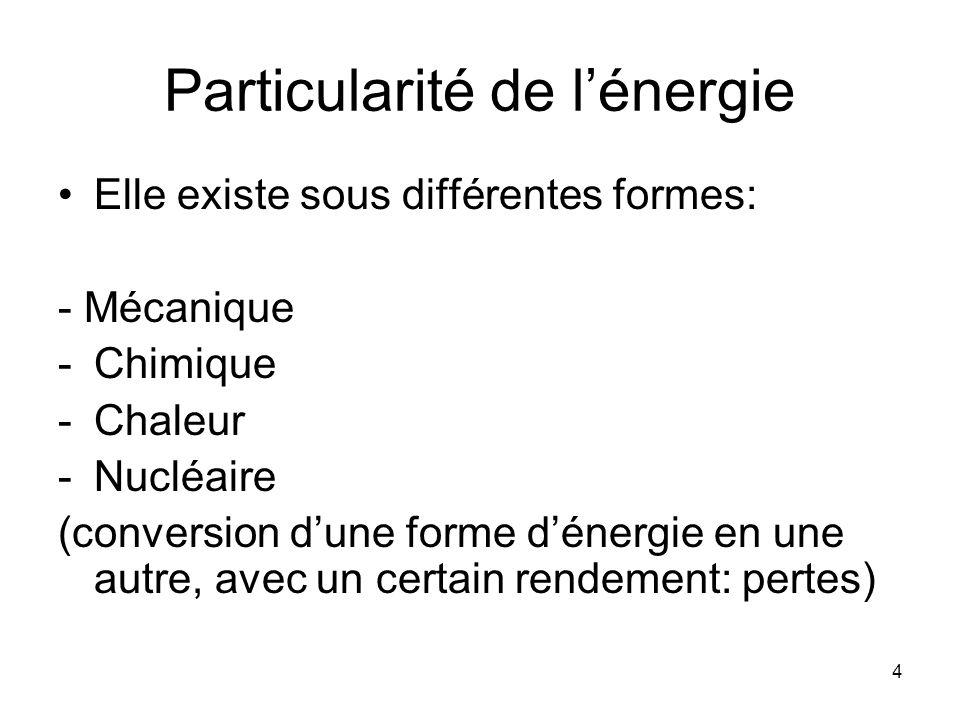 4 Particularité de lénergie Elle existe sous différentes formes: - Mécanique -Chimique -Chaleur -Nucléaire (conversion dune forme dénergie en une autr