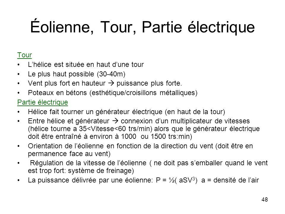 48 Éolienne, Tour, Partie électrique Tour Lhélice est située en haut dune tour Le plus haut possible (30-40m) Vent plus fort en hauteur puissance plus