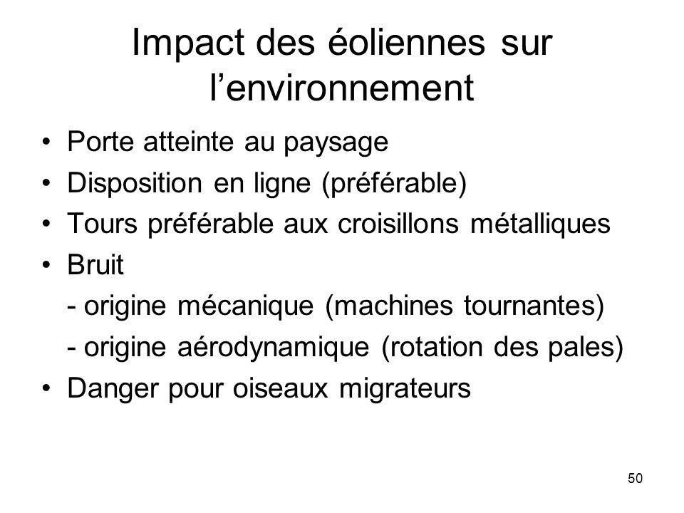 50 Impact des éoliennes sur lenvironnement Porte atteinte au paysage Disposition en ligne (préférable) Tours préférable aux croisillons métalliques Br
