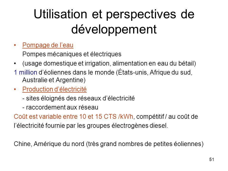 51 Utilisation et perspectives de développement Pompage de leau Pompes mécaniques et électriques (usage domestique et irrigation, alimentation en eau