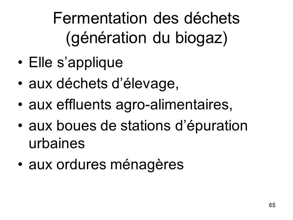 65 Fermentation des déchets (génération du biogaz) Elle sapplique aux déchets délevage, aux effluents agro-alimentaires, aux boues de stations dépurat