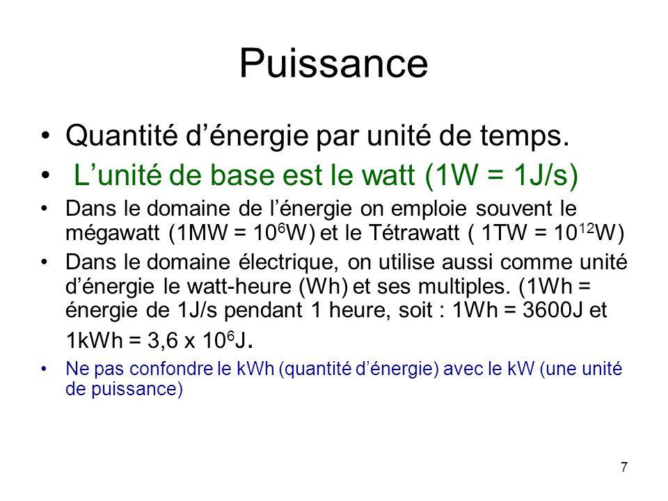 7 Puissance Quantité dénergie par unité de temps. Lunité de base est le watt (1W = 1J/s) Dans le domaine de lénergie on emploie souvent le mégawatt (1