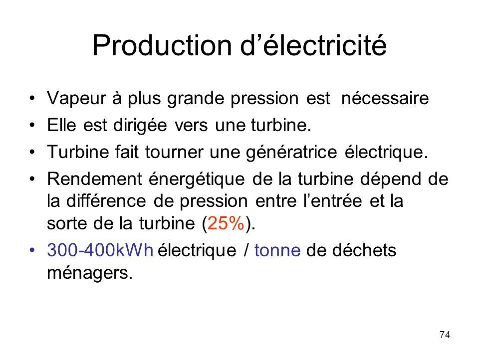 74 Production délectricité Vapeur à plus grande pression est nécessaire Elle est dirigée vers une turbine. Turbine fait tourner une génératrice électr